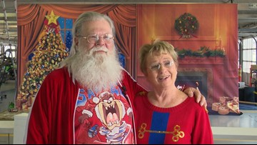 Couple married nearly 50 years brings smiles to Texas Motor Speedway as Mr. and Mrs. Claus
