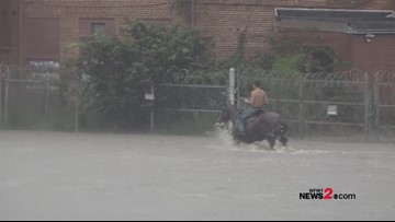 Man casually rides horse shirtless through Florence flooding
