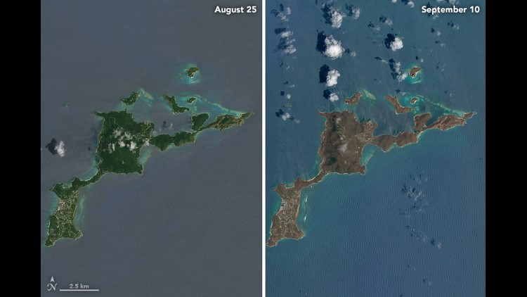 A close-up of Virgin Gorda gives a better sense of the changes. Note how some of the vegetation on the south and west of the island is a bit greener