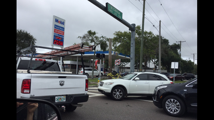 Mobil at Central and Hillsborough Avenue is seeing long lines after Hurricane Irma.