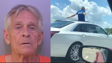 OFFICIALS: Florida man driving Cadillac from sunroof says he'd rather go to jail than back to his wife