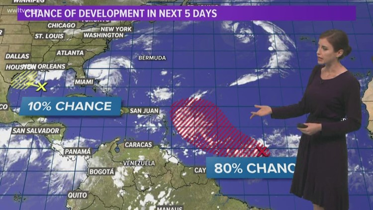 A weak disturbance in the Gulf will stay south of us