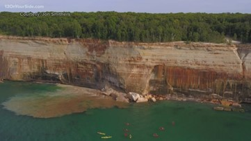 Kayakers escape injury as cliff collapses into Lake Superior